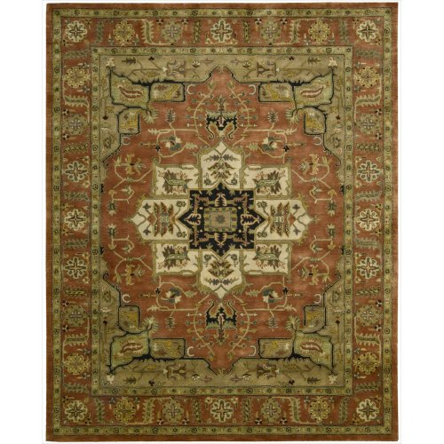 (Nourison Jaipur (JA33) Brick Rectangle Area Rug, 9-Feet 6-Inches by 13-Feet 6-Inches (9'6