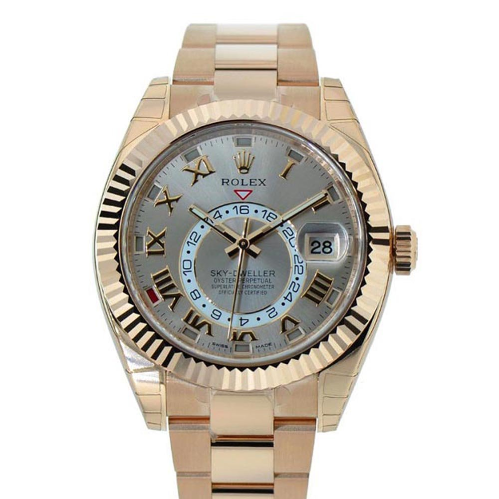 Amazon.com Rolex Sky,dweller 42mm Silver Roman Dial Gold