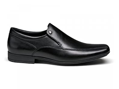 d3ad0539747b0 Front BELMONT Mens Leather Tramline Loafers Black: Amazon.co.uk: Shoes &  Bags