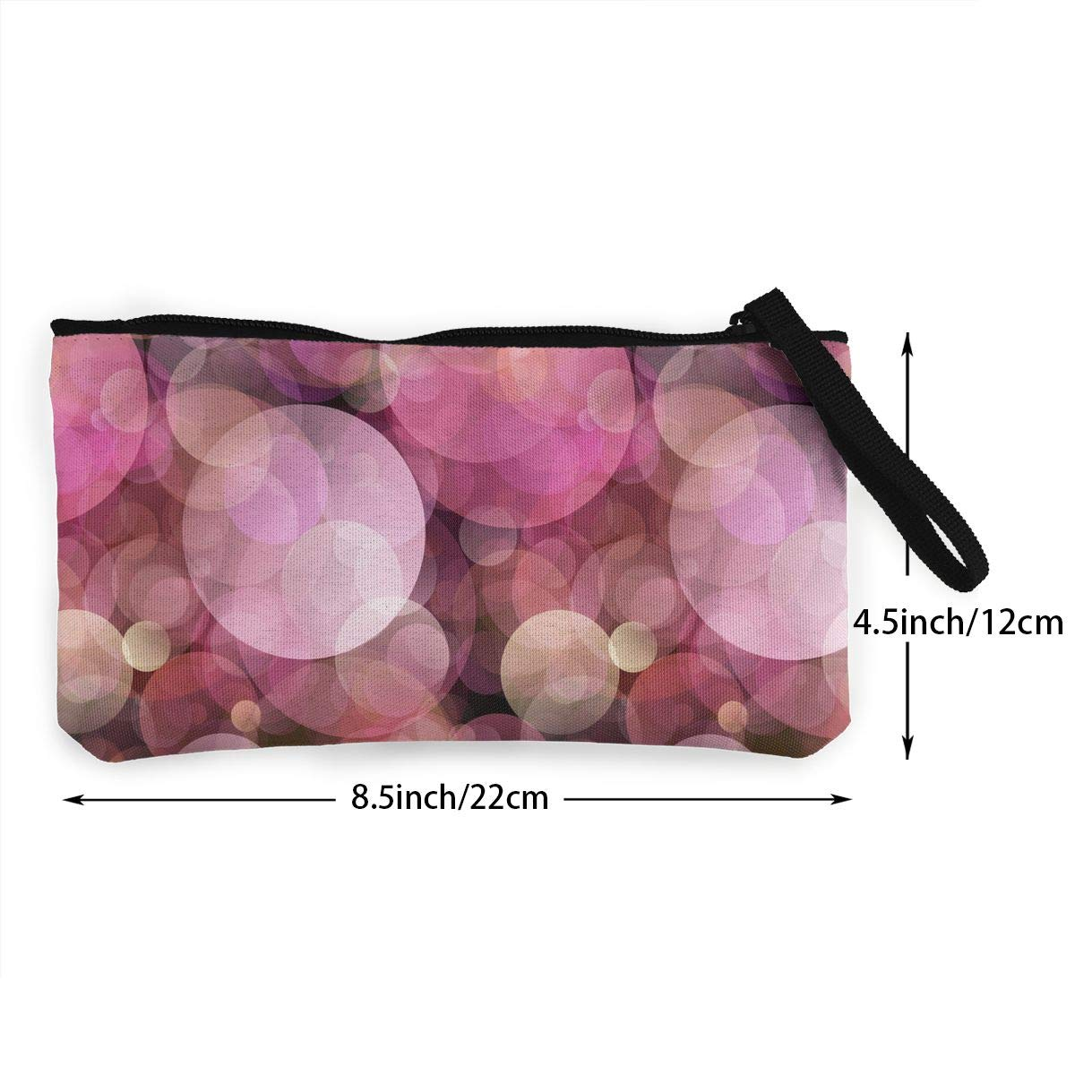 Make Up Bag,Cellphone Bag With Handle Blurred Light Pattern Zipper Canvas Coin Purse Wallet