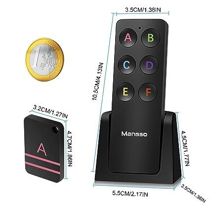 Mansso Buscador de Llaves,Localizador Inalámbrico de Llaves con Base de Soporte y LED, Control Remoto, 1 Radio Frecuencia Transmisor, 6 Receptores