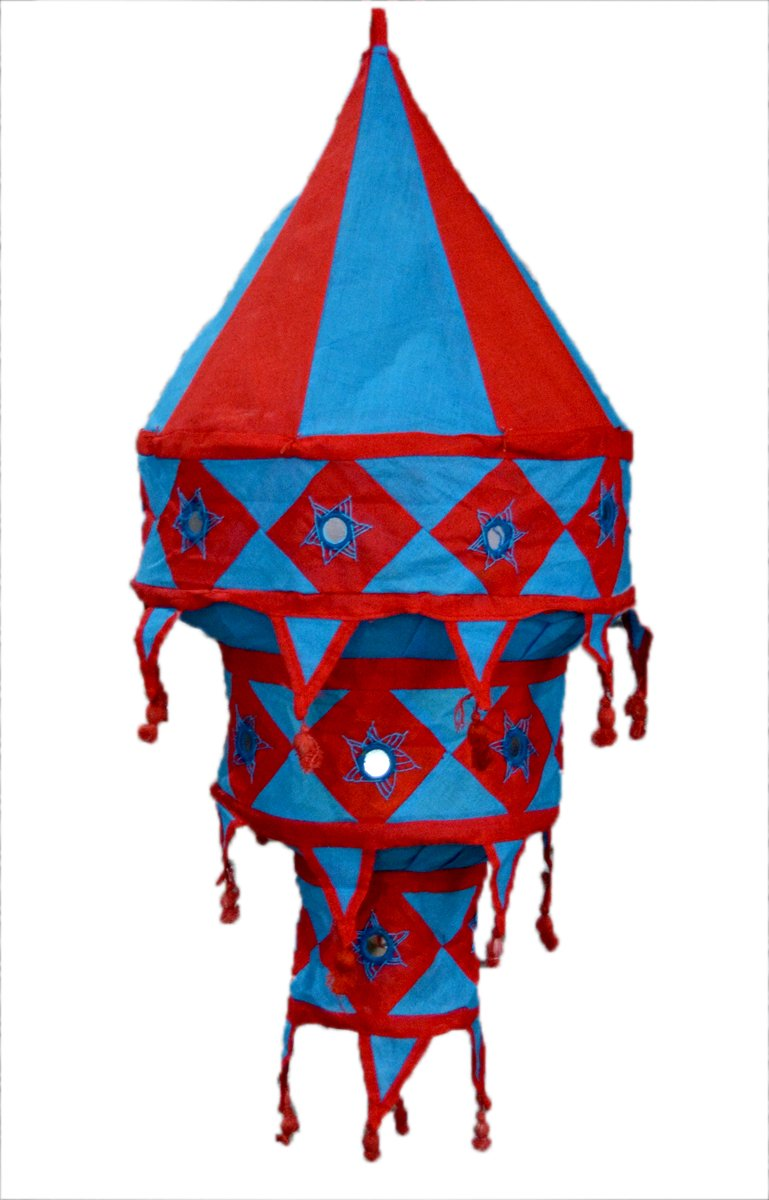 Indian Ethnic Hanging Lampshade Embroidered Mirror Work Home Decorative 3 Layer Lamp