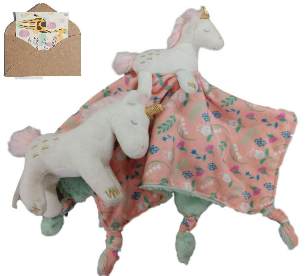 Unicorn Mary Meyer Character Blanket and Soft Rattle with Mini Gift Card-Bundle of 3 Items Twilight Multiple