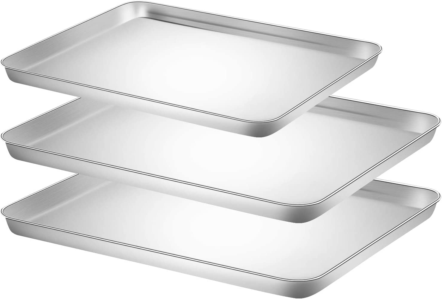 Baking Sheets, Set of 3 Baking Pans, Stainless Steel Cookie Sheets, Toaster Oven Tray Pans