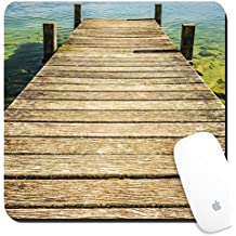 Luxlady Suqare Mousepad 8x8 Inch Mouse Pads/Mat design IMAGE ID: 19332676 Jetty of weathered wood over a lake with blue water and green small waves and rocks at the bot