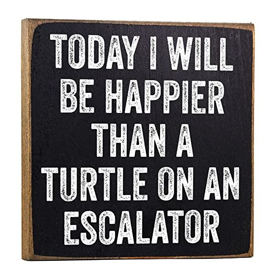 Today I Will Be Happier Than a Turtle on an Escalator - Rustic Wooden Sign - Makes a Great Funny Gift Under $15! - MAKES A GREAT GIFT - My collection makes it easy to find the perfect gift for friends and family. REAL WOOD - Unlike most, ours are printed on SOLID wood, not particle board scraps like most. PROUDLY MADE IN THE USA - All of my designs are printed here in the USA at our studio in Tomball, TX - living-room-decor, living-room, home-decor - 61Z1kAA2bLL. SS570  -