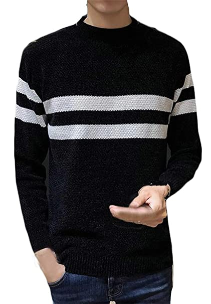 Pcutrone Men Casual Long Sleeve Striped Pullover Crewneck Knitted Jumper Sweaters
