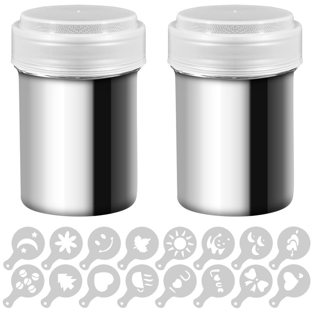 2 Stainless Steel Powder Shakers, SENHAI Mesh Shaker Powder Cans for Coffee Cocoa Cinnamon Powder with Lid, with 16 pcs Printing Molds Stencils