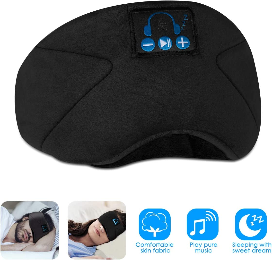SOONHUA Bluetooth Eye Mask for Sleeping, Wireless Sleep Headphones Headband Bluetooth 5.0, for Running with Built-in Microphone Ultra-Thin Speakers,for Side Sleepers Black
