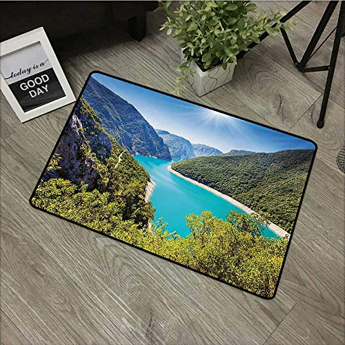 Moses Whitehead Indoor Outdoor Floor Mats European,The Piva Canyon with Reservoir Montenegro Balkans Europe Sunlights,Aqua Sky Blue Forest Green,for Indoor Outdoor Easy Clean Entry Way,31