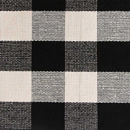 Buffalo Checked Braided Kitchen Mat Black and White Area Rugs for Living Room/Bedroom/Laundry, 100% Cotton Gingham Rag Rug Hand-woven Checkered Kitchen Rugs, 23.6''x70.8''