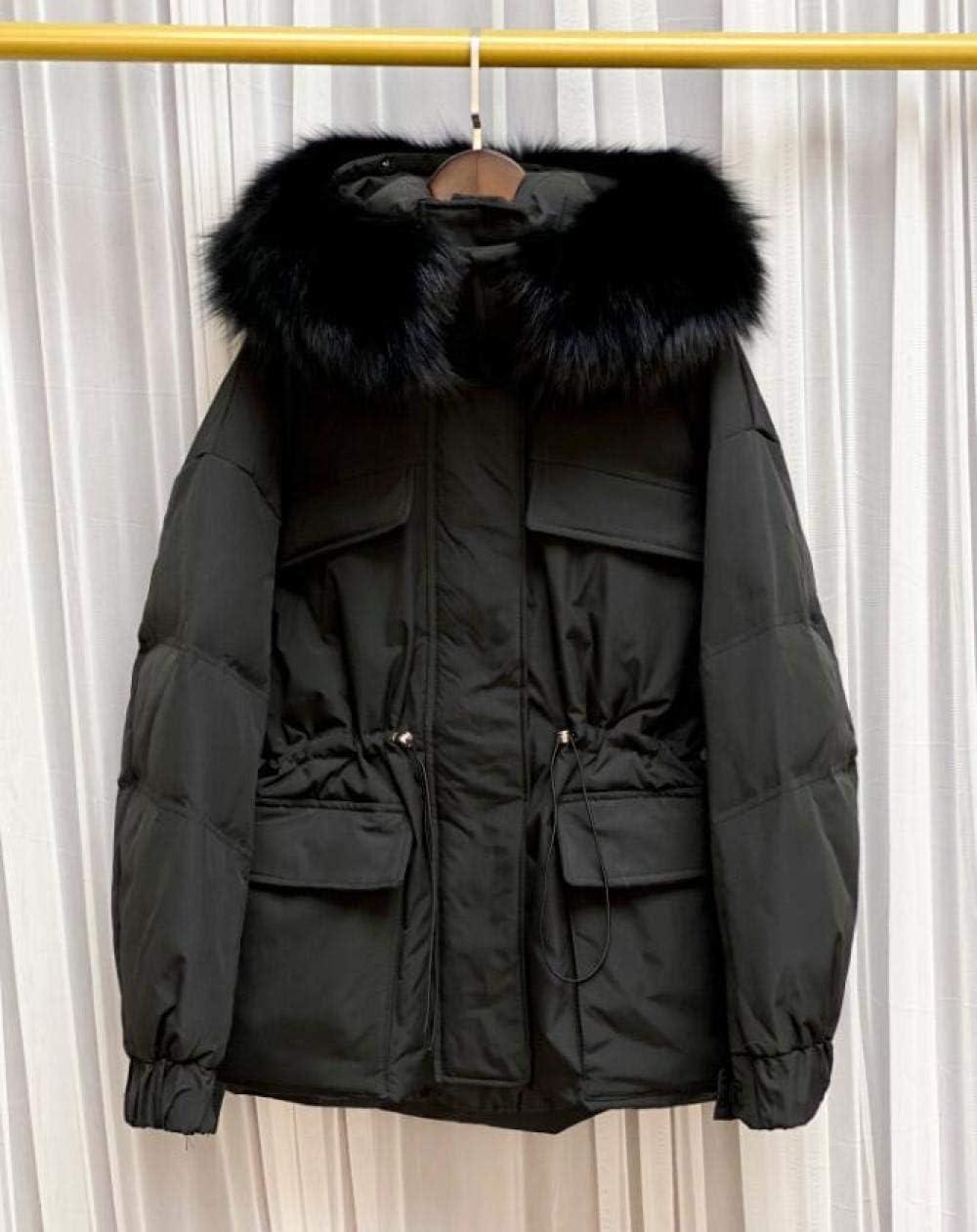 WQDS Chaqueta de Invierno con Capucha para Mujer 90% Chaqueta de plumón de Pato Blanco Abrigo Grueso para Mujer-Pelaje de Zorro_50