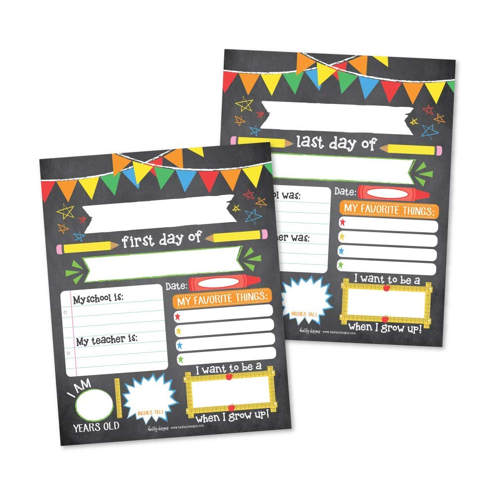10 Colorful First and Last Day of School Interview Signs, Back to School Photo Booth Prop Color, 1st Preschool, Kindergarten, Pre K Grade, Reusable Reversible Girl Boy Kid Child Year 8x10 Card Stock by Hadley Designs