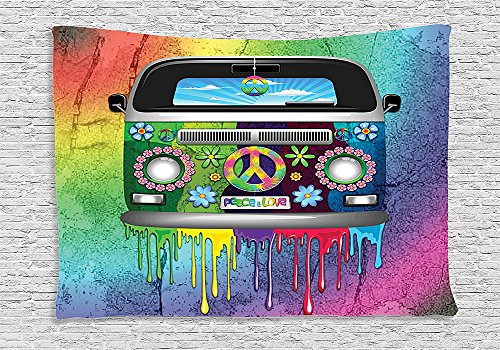 Groovy Decorations Tapestry Old Style Hippie Van With Dripping Rainbow Paint Mid 60S Youth Revolution Movement Theme Bedroom Living Room Dorm Decor Multi