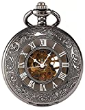 Carrie Hughes Men's Black Tone Roman Engraved Steampunk Gold Skeleton Mechanical Pocket Watch with Chain CHPW7 (CHPW7)