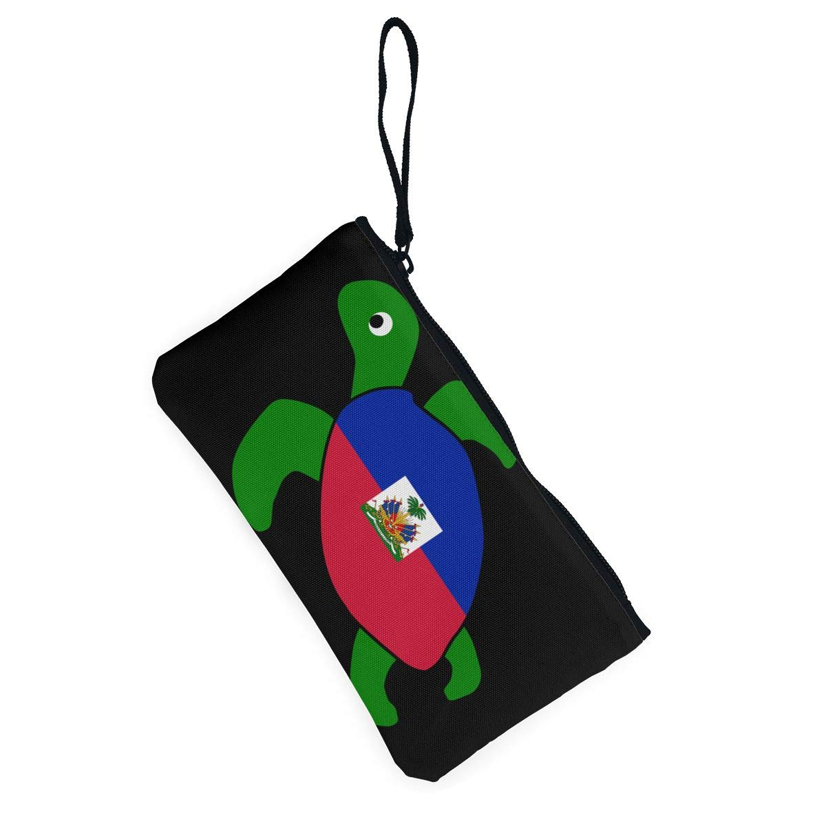 Sea Turtle Flag of Haiti Canvas Coin Purse Cute Change Pouch Wallet Bag Multifunctional Cellphone Bag with Handle