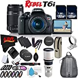 6Ave Canon EOS Rebel T6i DSLR Camera w/18-55mm Lens International Version (No Warranty) + Canon 55-250mm IS STM Lens + Canon EF 400mm f/5.6L USM Lens 2526A004 + Deluxe Cleaning Kit Bundle