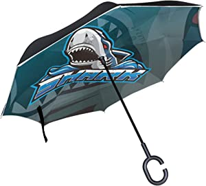 LDIY Cartoon Shark Inverted Umbrella Compact Windproof Car Reverse UV Protection Travel Umbrellas for Rainy Cars Children Beach Women