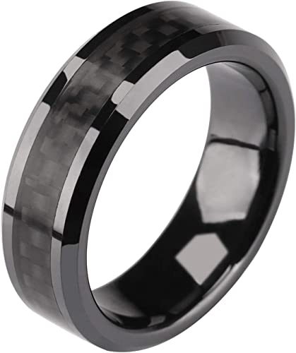 Titanium Polished w//Black Carbon Fiber Inlay 6mm Band