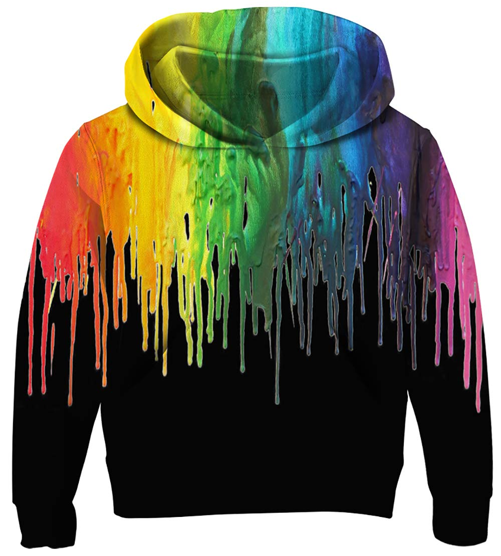 UNICOMIDEA 9-12 Years Teen Boys\' Sweaters Colorful Jazz Solo 3D Printed Sports Pullover Cool Black Sweatshirt with Big Pocket L