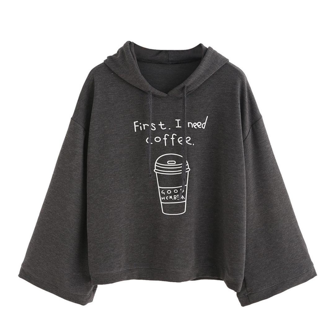 ESAILQ Frauen Langarm Grau Brief Print Hooded Sweatshirt Pullover