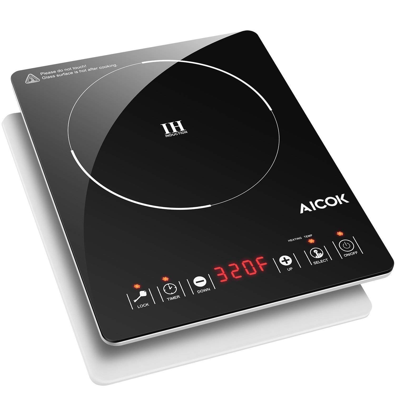 Aicok Portable Induction Cooktop, Countertop Burner with Timer, 15 Power Levels, 15 Preset Temperatures, Child Safety Lock, Ultra-Thin Design
