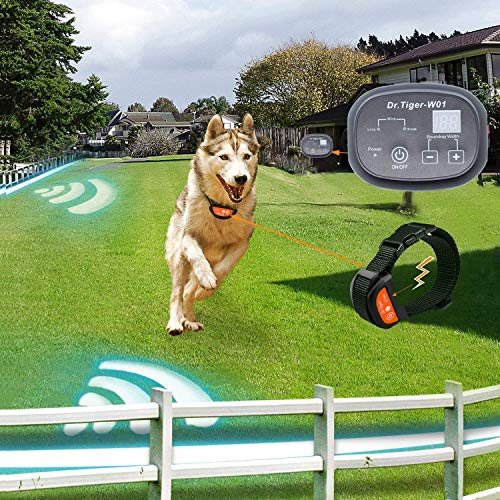 Dr.Tiger 1 Receiver Electric Dog Fence with Rechargeable Shock Collar, Wire In-Ground Dog or Cat Containment Fence System, Dark