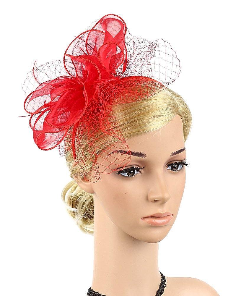 Urban CoCo Women's Bow Feather Net Veil Fascinator Hair Clip Bridal Hat EXHA5348H