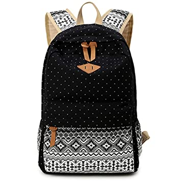 5 ALL Sac en Toile Cartable College Fille Adolescents Sac à Dos Folk,custom  Femmes