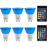 Yangcsl Dimmable 3W GU10 RGB LED Light Bulbs Uniform Color Changing Spotlight Mood Ambiance Lighting with Remote Control,45 Degree and Memory (Pack of 6)