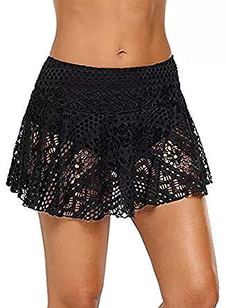 adbbc82c2ae3a Bdcoco Women s Swimwear Lace Crochet Skirt Bottom Bikini Skort Swimdress  Black S