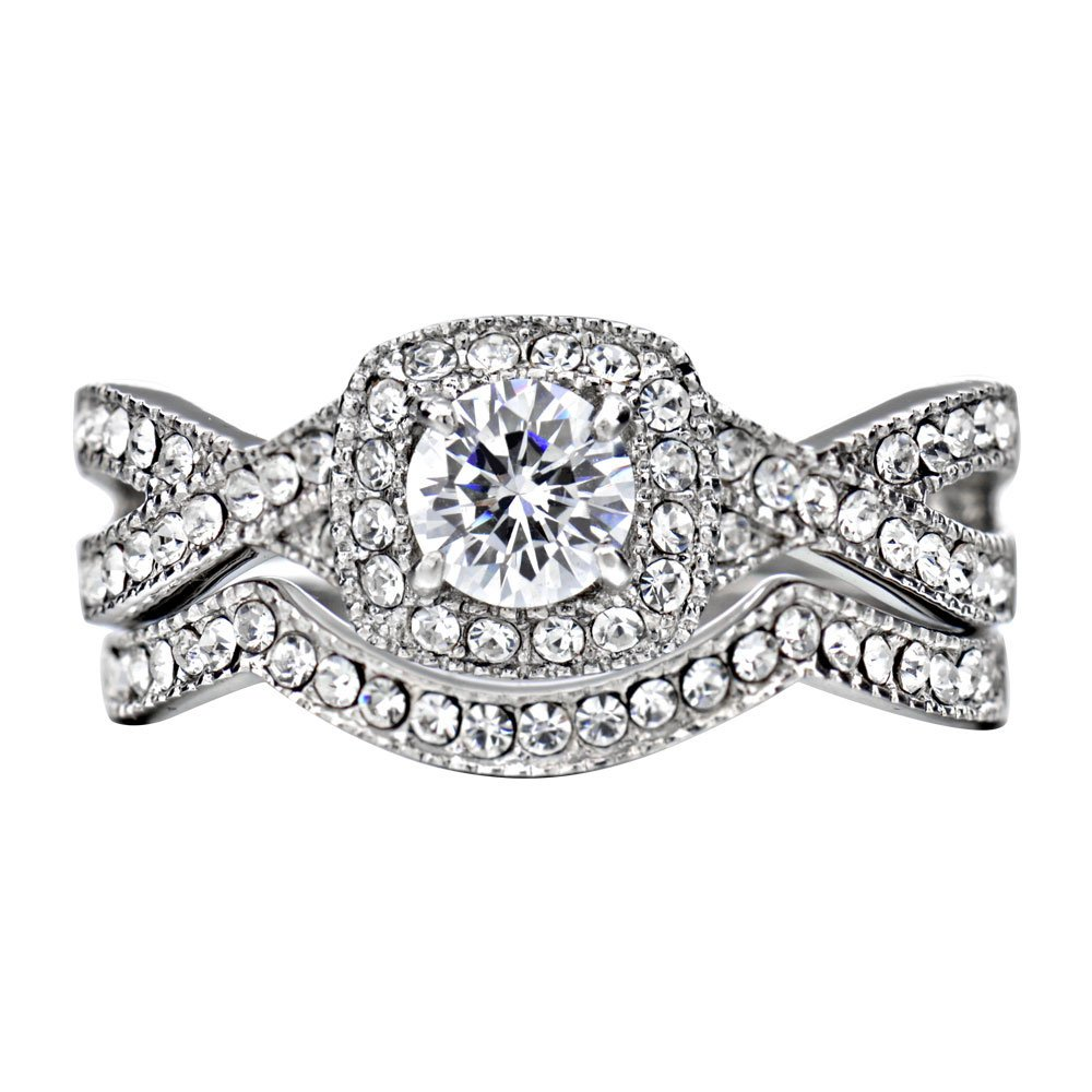 FlameReflection Stainless Steel Women's Infinity Wedding Ring Set Halo Round Cut Cubic Zirconia size 7 SPJ by FlameReflection (Image #2)