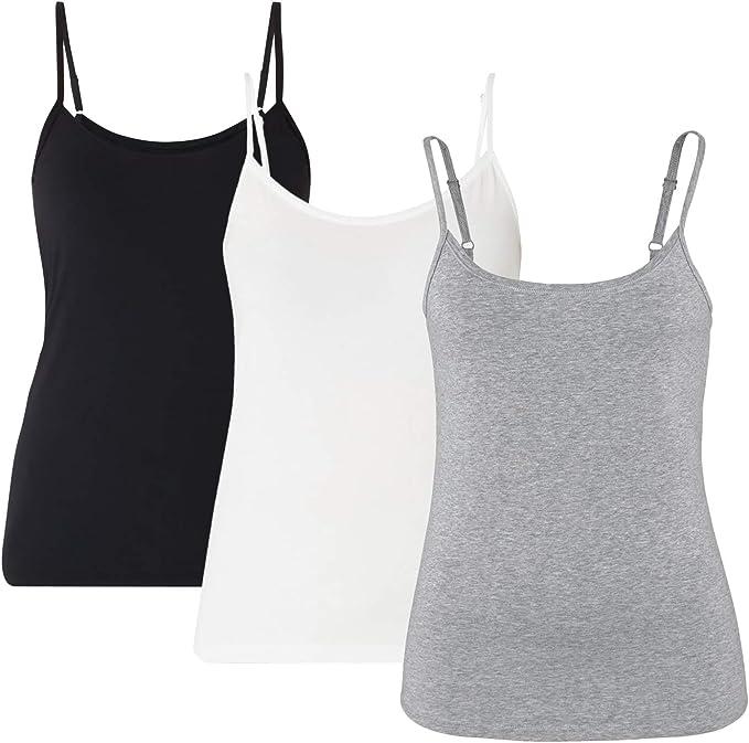 Pack de 3 Mujer con Sujetador Camiseta Mujer Interior Camiseta de Tirante sin Mangas Correas Ajustables(Negro+Blanco+Gris, L): Amazon.es: Ropa y accesorios