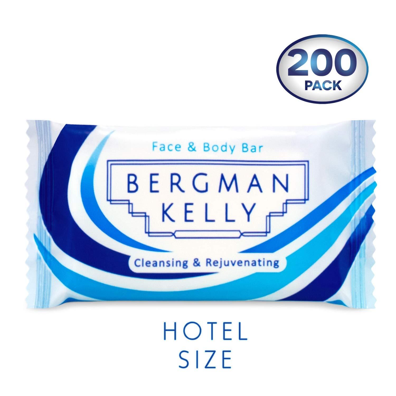 BERGMAN KELLY Travel Soap Bars (1Oz, 200 PK, White Tea), Travel Size Luxury Bulk Hotel Bar Soap; Mini Individually Wrapped Soap Hotel Toiletries for AirBnB, Motel, Guest Bathroom
