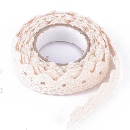 iDealhere Cordón Encaje Adhesivo Ajuste Cinta Algodón Tela Decoración Arte Hogar DIY (crema)