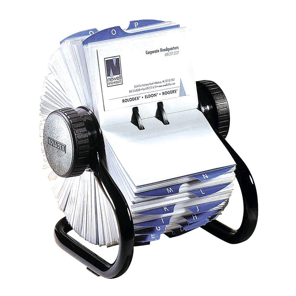 B00006IBSP Rolodex Open Rotary Business Card File with 200 2-5/8 by 4 inch Card Sleeve and 24 Guide, 400-Card Cap, Black (67236) 61Z1piog9rL