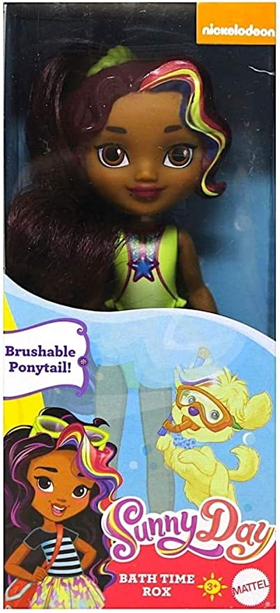 NIB Nickelodeon Sunny Day Bath Time Rox Mini Doll Brushable Ponytail New