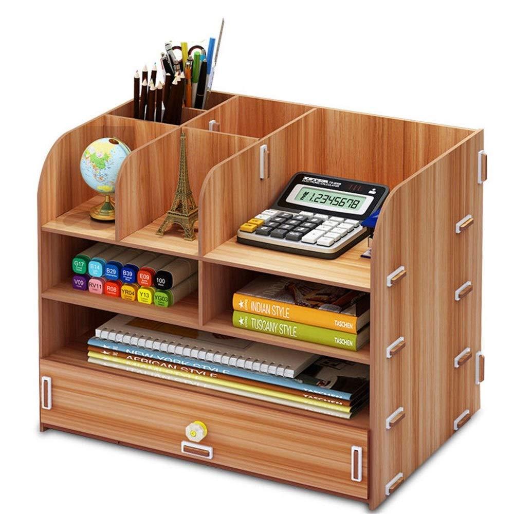 ZXPzZ デスクトップ書棚ラック木製オフィス収納棚オーガナイザー木製ペンホルダーソーター収納本コンテナボックス B07RFQ83RG