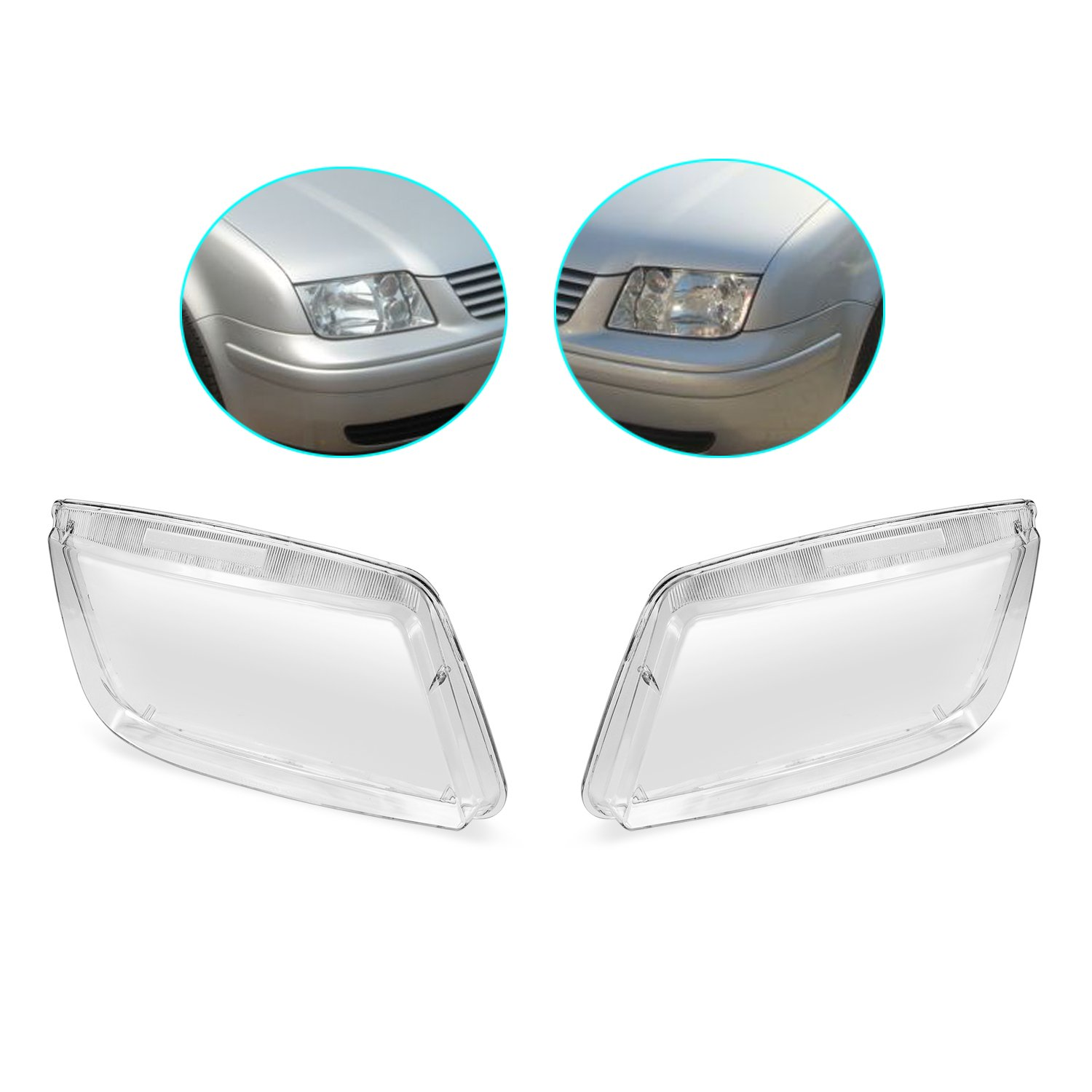 LOOYUAN Set of Headlight Lenses Replacement fit for VW Bora Jetta MK4 Kinglooyuan