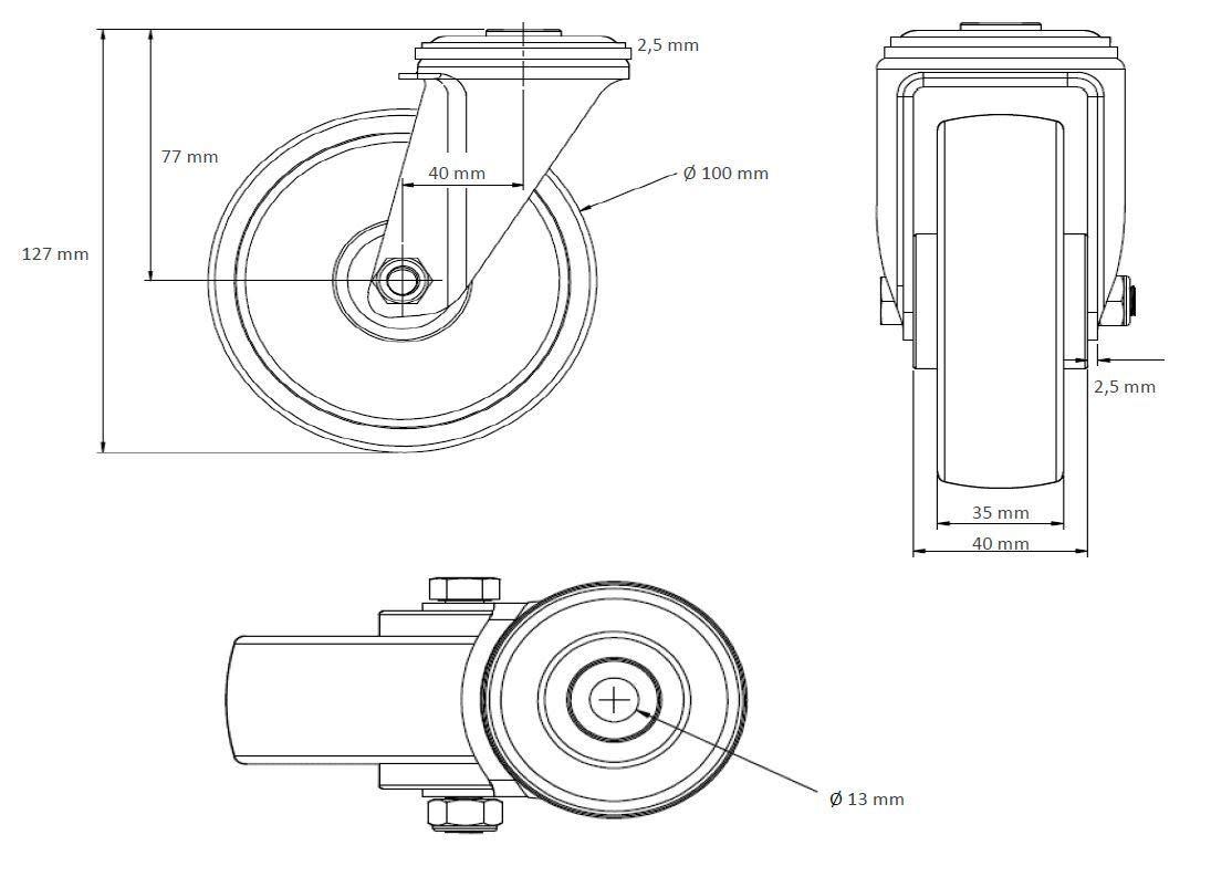 Lenkrolle mit R/ückenloch 100 mm ElastikBlue Wheels