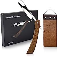 peinat Straight Razor, Wooden Straight Edge Razor for Man Stainless Steel Manual Straight Razor Kit Cutthroat Rosewood…