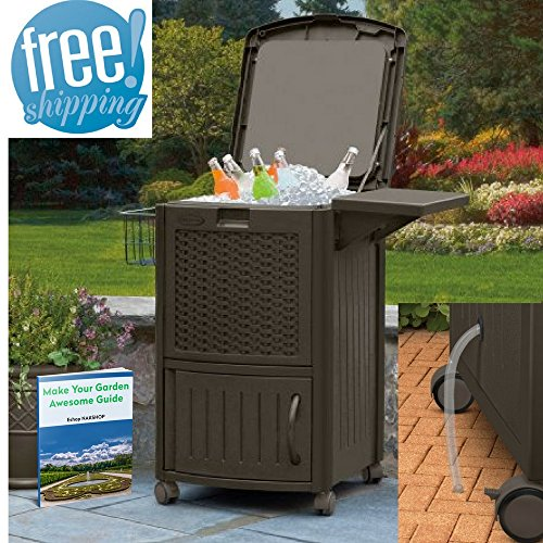 Beverage Cooler Cabinet Wicker Cooler Outdoor Cool Bar Patio Garden Drinks Poolside Lawn And Garden Backyard Wine Beer Deck Rattan Multifunctional Brown Resin Camping Rv Picnic And eBook By NAKSHOP