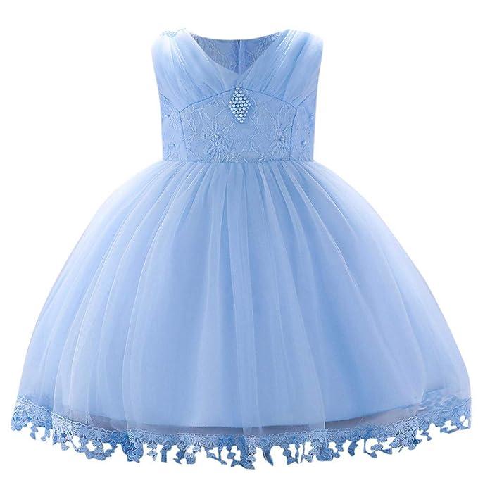 381d56616 Mitlfuny Verano Niñas Bebé Vestidos sin Manga Princesa Faldas Perla Encaje  Tul Tutú Vestido Bautizo Cumpleaños