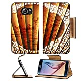 Flip Pu Leather Wallet Case Samsung Galaxy S6 MSD Premium Backplate Bumper Snap Case IMAGE ID: 784760 extreme close up of oriental art on unfolded traditional chinese fan