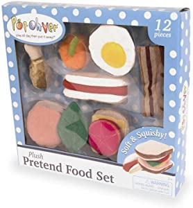 Pop-Oh-Ver - 12 Piece Plush Food Set Play Set - Comes With Realistic Looking Foods - Fake Foods For Hours Of Pretend Fun - Great For Young Kids - Create A Passion For Cooking Early On