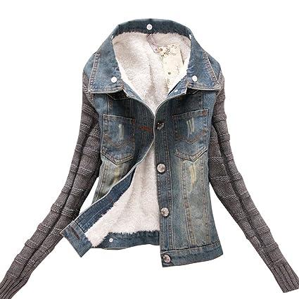 80741e924fa0d Dora Bridal Women s Sherpa Lined Denim Jacket Classy Casual Jeans Knitted  Sleeves Coats Outwear Detachable Fake Fur at Amazon Women s Coats Shop