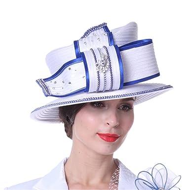 084c0958512 Kueeni Women Hats Diamond Casings Elegant Lady Church Hats White Color at  Amazon Women s Clothing store