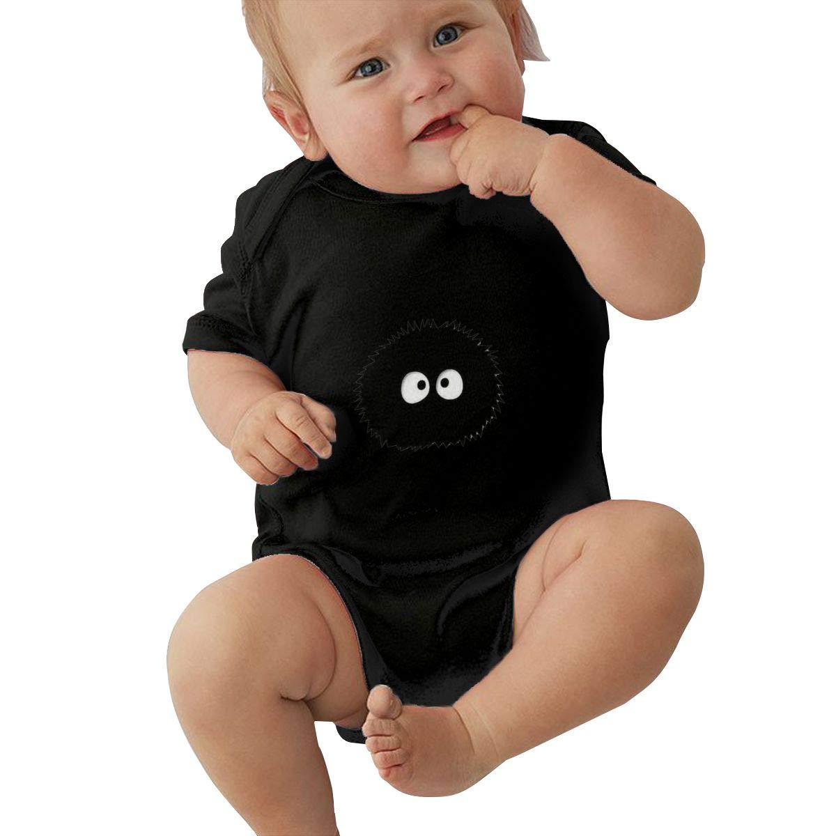 LOUHART Unisex Baby Round Neck Short Sleeve Onesie Spirited Away Funny Crawling Clothes Black