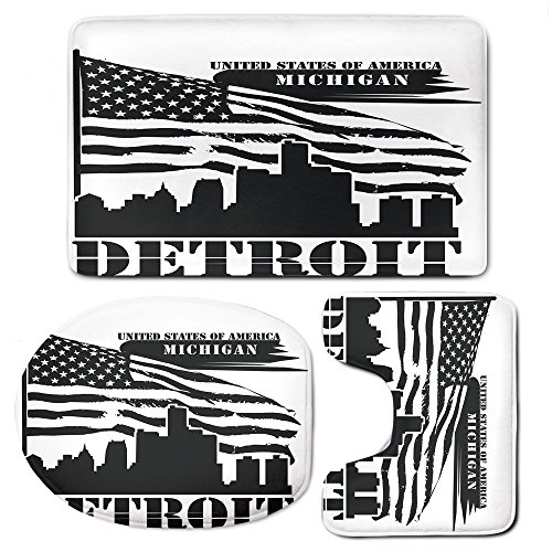 Michigan State Seat Cushion - 3-Piece Bathroom Set Bath Mat Rug Lid Toilet Covers Toilet Seat Cushion,Detroit DecorNon-Slip Rubber Backing,Monochrome Grunge City Silhouette American Flag United States Michigan Decorative