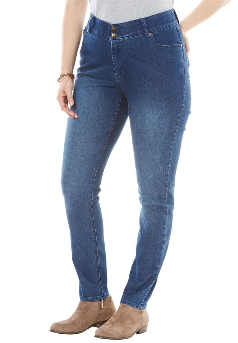 Women's Plus Size Tummy Tamer Skinny Jean Medium Stonewash,20 W